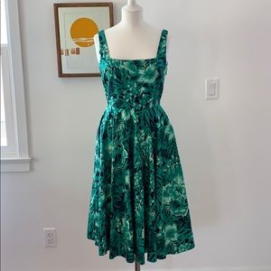 Zara tropical print fit and flare dress